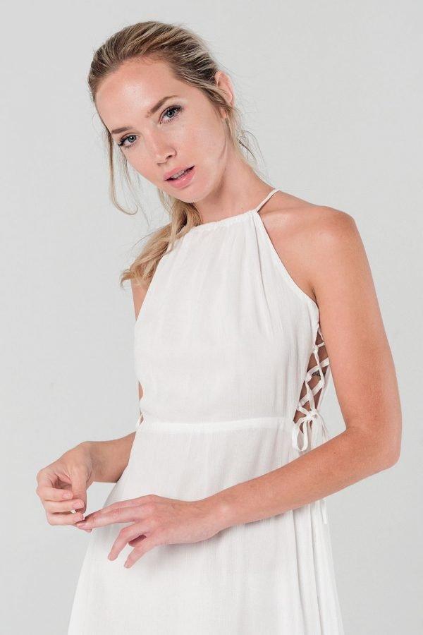 Witte Jurk Sarah wit dames zomer jurken open rug en zijkanten sexy summer dress katoen online kopen