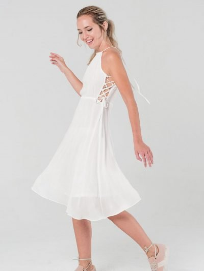 Witte Jurk Sarah wit dames zomer jurken open rug en zijkanten sexy summer dress katoen online kopen bestellen