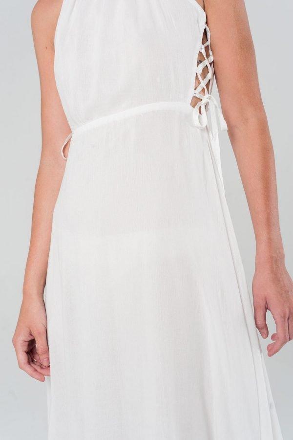 Witte Jurk Sarah wit dames zomer jurken open rug en zijkanten sexy summer dress katoen online kopen bestellen details