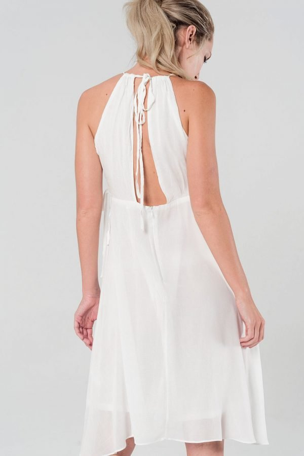 Witte Jurk Sarah wit dames zomer jurken open rug en zijkanten sexy summer dress katoen online kopen bestellen fashion achterkant