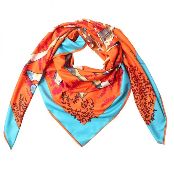 Zijde Sjaal Giraffe oranje mint tuquoise dames sjaals zijden silk gekleurde print grote sjaals musthave accessoires kopen