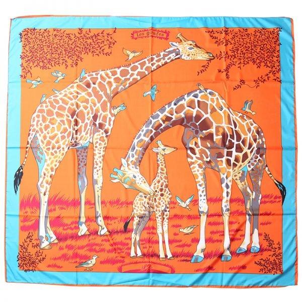 Zijde Sjaal Giraffe oranje mint tuquoise dames sjaals zijden silk gekleurde print grote sjaals musthave accessoires kopen detail