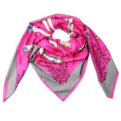 Zijde Sjaal Giraffe roze pink dames sjaals zijden silk gekleurde print grote sjaals musthave accessoires kopen