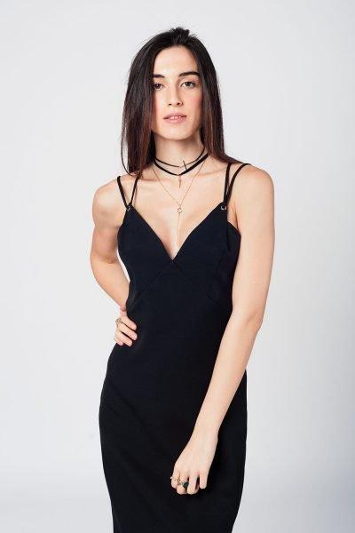 773def8f15cb65 Zwarte Jurk Lily zwart dames jurken spagetti bandjes open rug sexy jurk  black dress online bestellen