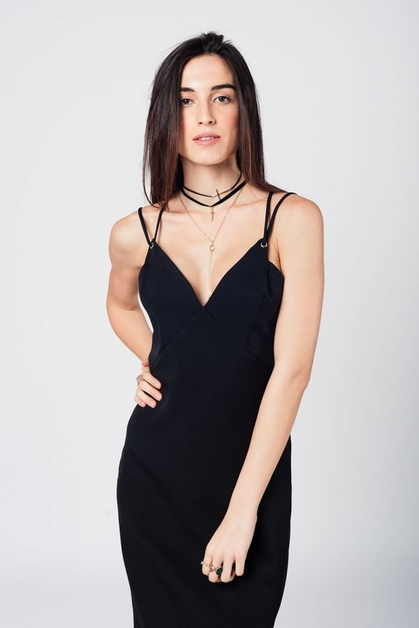 Zwarte Jurk Lily zwart dames jurken spagetti bandjes open rug sexy jurk black dress online bestellen