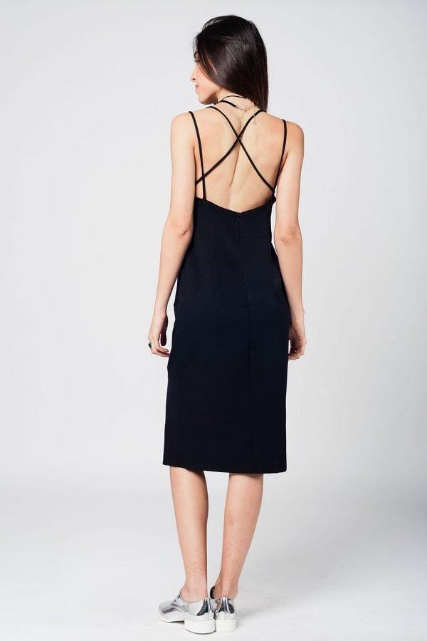 Zwarte Jurk Lily zwart dames jurken spagetti bandjes open rug sexy jurk black dress online bestellen achterkant