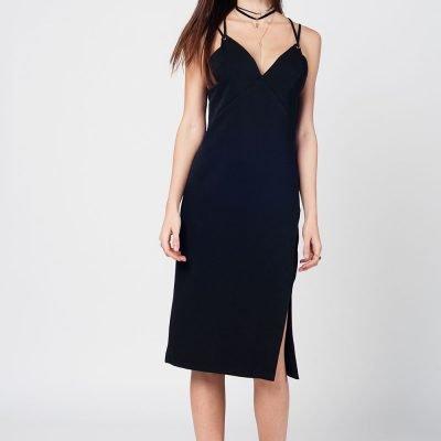 Zwarte Jurk Lily zwart dames jurken spagetti bandjes open rug sexy jurk black dress online bestellen modemusthaves
