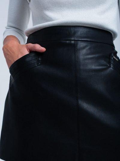 Zwarte faux Leren rok zwart korte nep leren roken zakken musthave fashion bestellen
