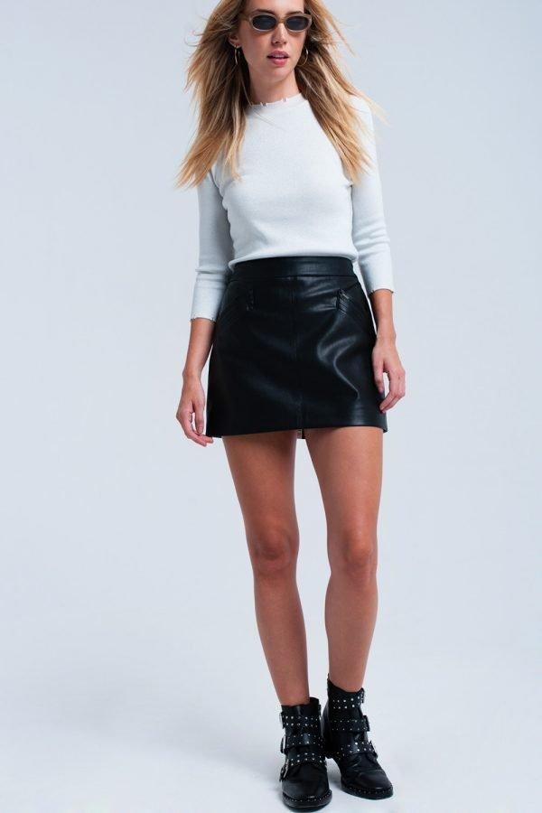 Zwarte faux Leren rok zwart korte nep leren roken zakken musthave fashion items bestellen