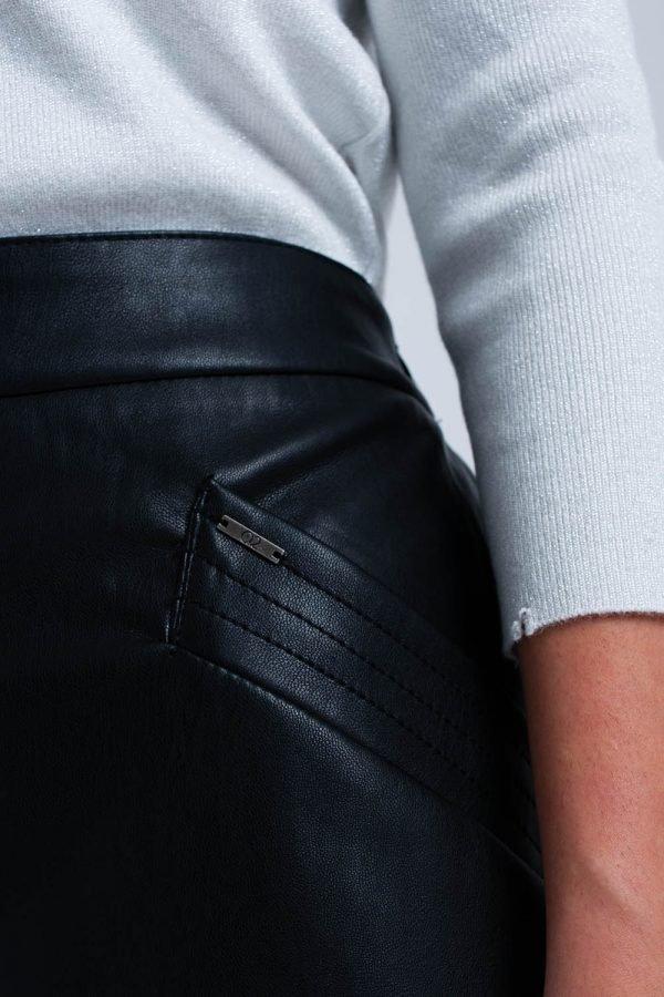 Zwarte faux Leren rok zwart korte nep leren roken zakken musthave fashion items kope