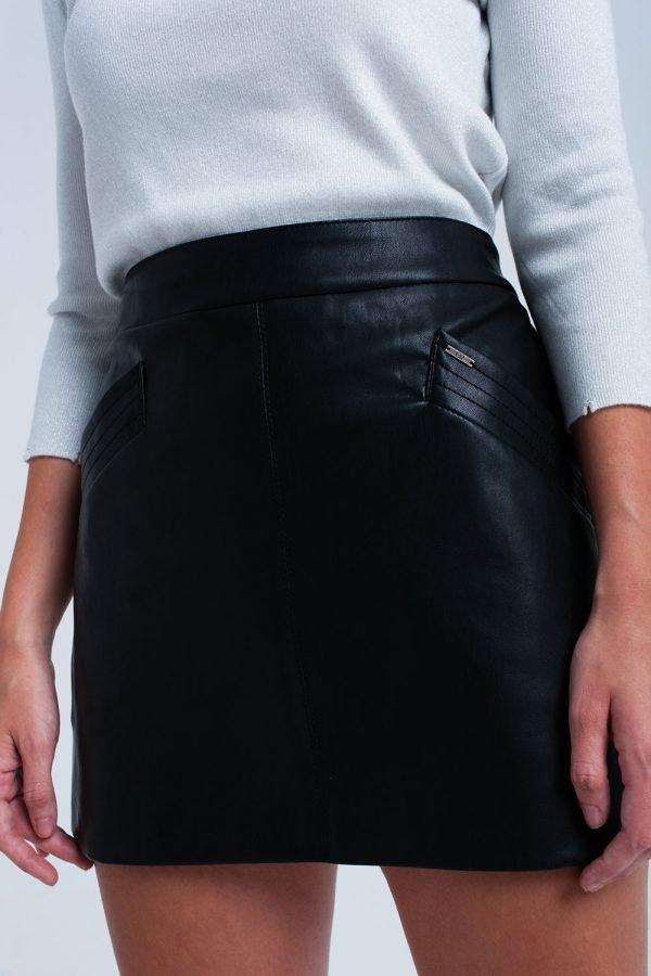 Zwarte faux Leren rok zwart korte nep leren roken zakken musthave fashion items kopen