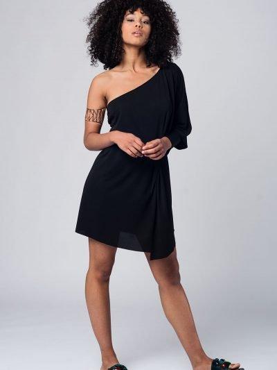 zwarte Jurk one shoulder dames jurken lange mouw strapless modemusthaves black dress online