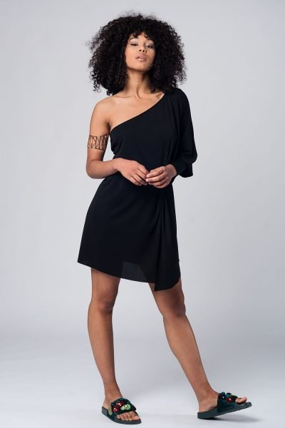 zwarte Jurk one shoulder dames jurken lange mouw strapless modemusthaves black dress online