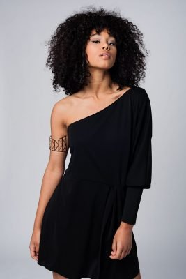 zwarte Jurk one shoulder korte dames jurken lange mouw strapless modemusthaves black dress online