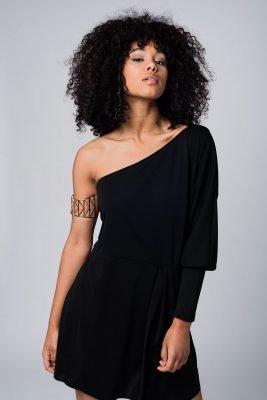 zwarte Jurk one shoulder korte dames jurken lange mouw strapless modemusthaves black dress online