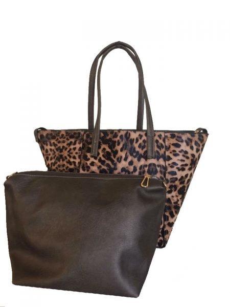 Bag in Bag Tas Leopard Lilly bruin bruine leopard tiger tijger print shopper dames tassen online bestellen binnen extra fashion