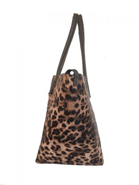 Bag in Bag Tas Leopard Lilly bruin bruine leopard tiger tijger print shopper dames tassen online bestellen binnen fashion goedkope giuliano