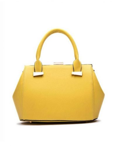 Handtas Knip geel gele dames tassen handtassen met knipsluiting goud beslag musthave kunstleder tas giuliano