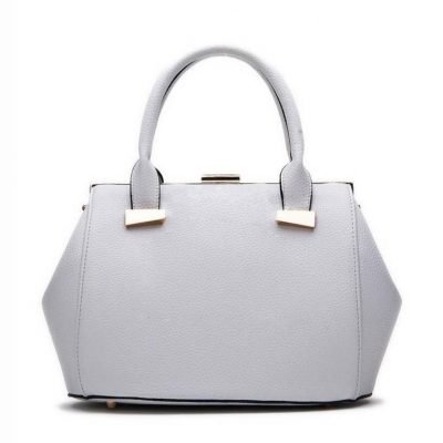 Handtas Knip grijs grijze dames tassen handtassen met knipsluiting goud beslag musthave kunstleder tas giuliano