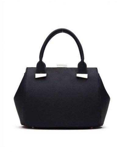 Handtas Knip zwart zwarte dames tassen handtassen met knipsluiting goud beslag musthave kunstleder tas giuliano kopen