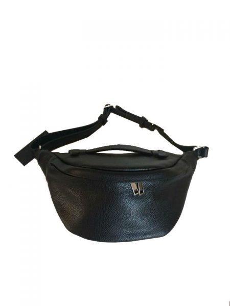 Leren Heuptas Billy zwart zwarte grote heuptassen fannypacks leather crossbody bags rits zilver beslag dames beltbags riemtassen kopen