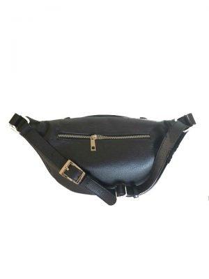 Leren Heuptas Billy zwart zwarte grote heuptassen fannypacks leather crossbody bags rits zilver beslag dames beltbags riemtassen kopen bestellen achterkant
