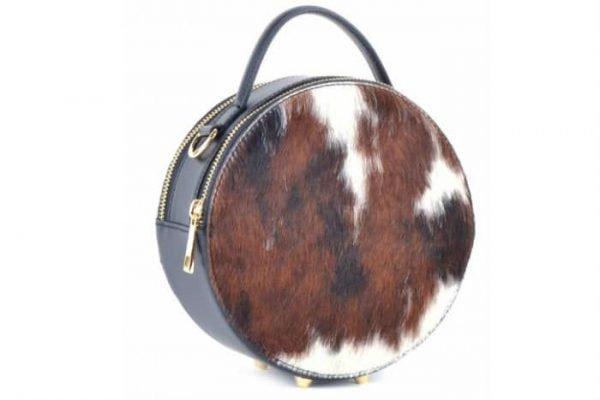 Leren Tas Round Koe cow zwart zwarte ronde leren tassen leopard dierenhuid vacht voorkant italian round it bags kopen giuliano