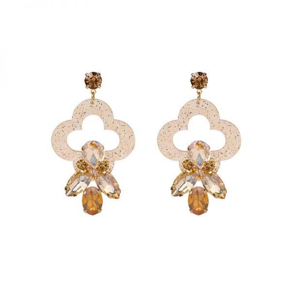 Oorbellen Artsy goud gouden bruine oorbellen oorhangers klassiek steentjes musthave sieraden