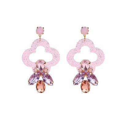 Oorbellen Artsy roze pink oorbellen oorhangers klassiek steentjes musthave sieraden