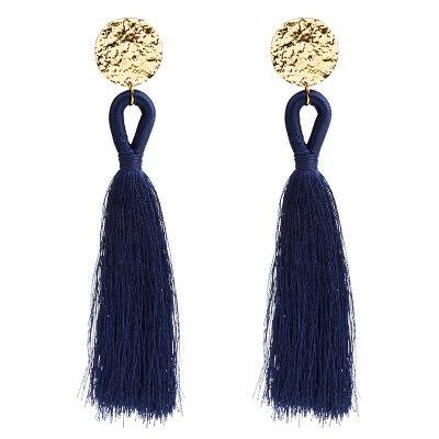 Oorbellen Happy Tassle blauw blauwe lange -oorbellen-oorhangers-goud beslag kleurrijke statement -musthave-sieraden-