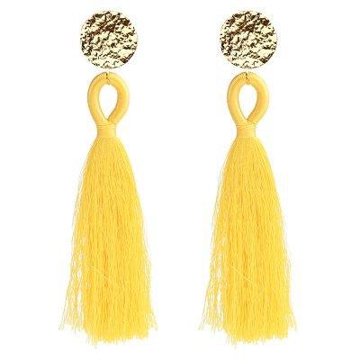 Oorbellen Happy Tassle geel gele lange -oorbellen-oorhangers-goud beslag kleurrijke statement -musthave-sieraden-