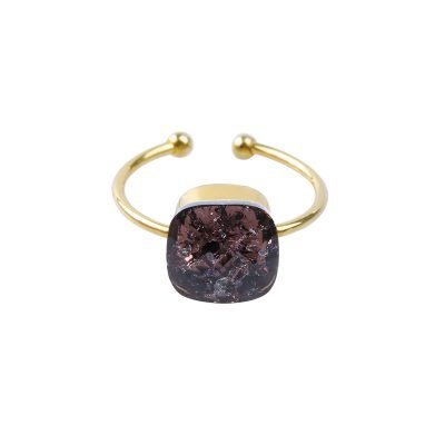 Ring Magic Stone goud gouden ringen groten zwarte steen open dames ringen fashion accessoires bestellen kopen