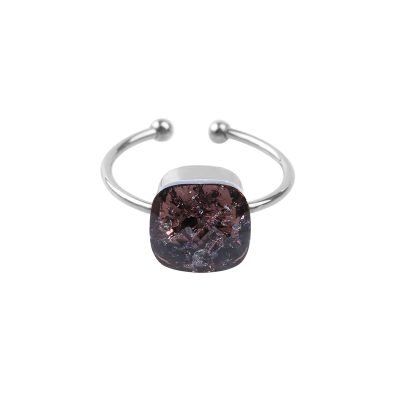 Ring Magic Stone zilver zilveren ringen groten zwarte steen open dames ringen fashion accessoires bestellen kopen