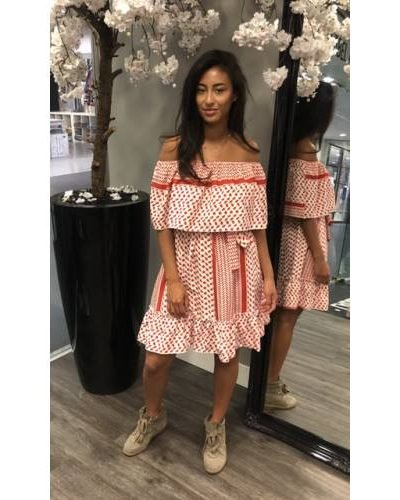 Strapless Jurk Belle rood rode wit witte jurken summer dress off the shoulder fashion festival kleding kopen mode bestellen