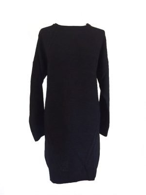 Sweater Dress Classy zwart zwarte lange gebreide dames jurken sweater jurken musthave fashion kleding bestellen online kopen werk