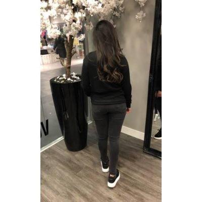 Trui Must Love it zwart zwarte dames truien lange mouwen rode tekst mode musthaves bestellen kopen fashion sweater achter