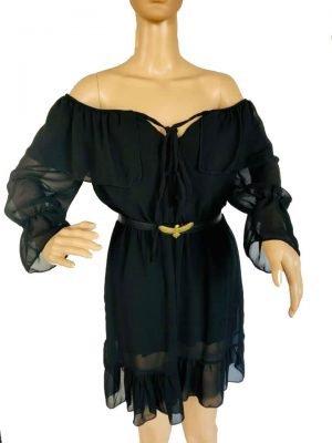 Zwarte Strapless Jurk zwart dames jurken off shoulders doorzichtige sexy dress kopen zomer