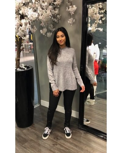 grijze sweater lace achterkant sexy sweater voor