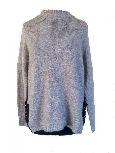 grijze-sweater-lace-achterkant-sexy-sweater-voor grijs truien zwarte kanten rug dames trui wollen winter truien sexy