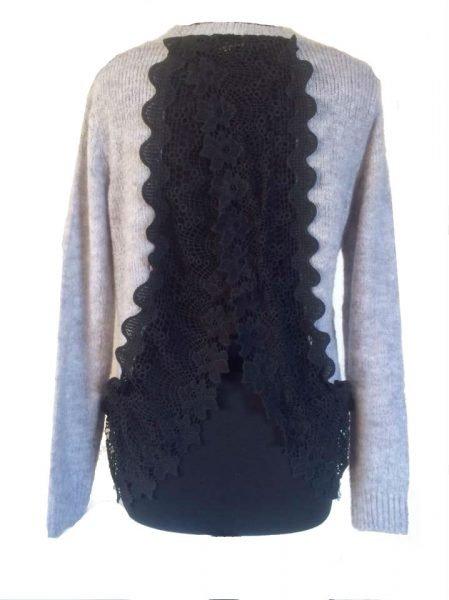 grijze-sweater-lace-achterkant-sexy-sweater-voor grijs truien zwarte kanten rug dames trui wollen winter truien sexy achter