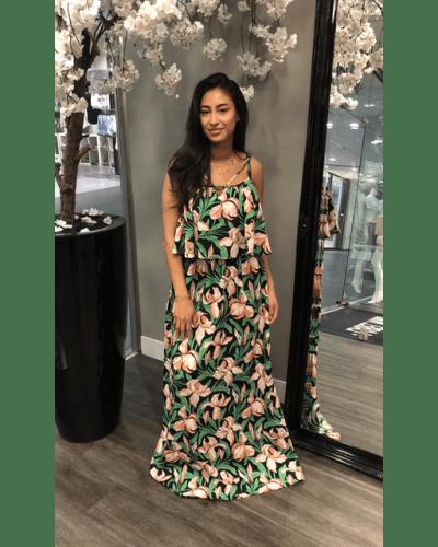 groene flower maxi dress jurken