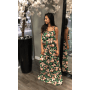 groene flower maxi dress jurken dames jurk