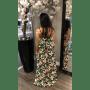 groene flower maxi dress jurken dames jurk achter