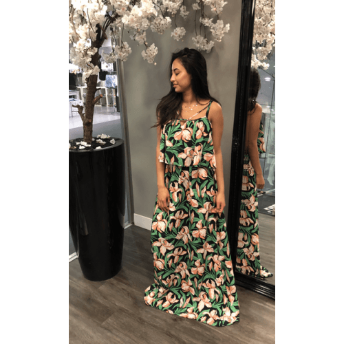 3a5b968260e696 groene flower maxi dress jurken dames jurk
