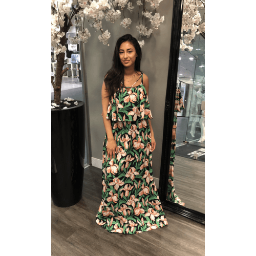 groene flower maxi dress jurken
