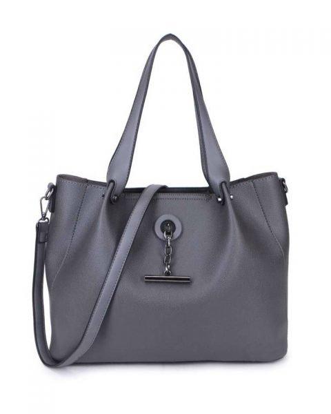 Bag in Bag Shopper Finsy grijs grijze dames kunstleder tassen dames handtassen schoudertassen extra tas musthave fashion it bags kopen bestellen online side