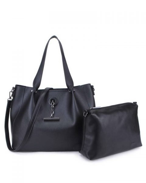 Bag in Bag Shopper Finsy zwart zwarte dames kunstleder tassen dames handtassen schoudertassen extra tas musthave fashion it bags kopen bestellen online