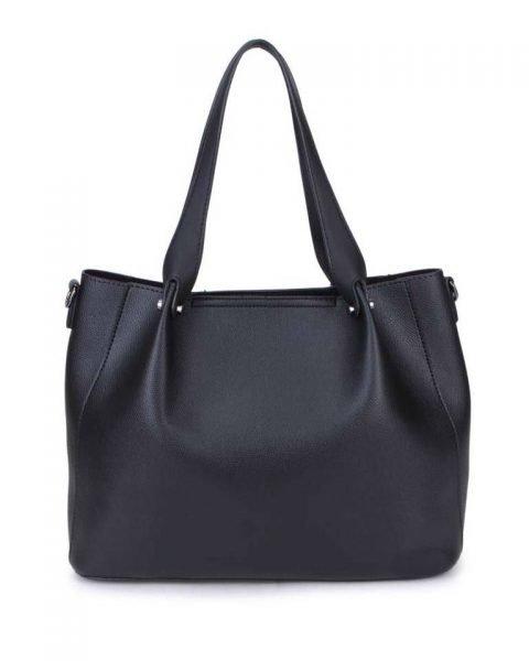 Bag in Bag Shopper Finsy zwart zwarte dames kunstleder tassen dames handtassen schoudertassen extra tas musthave fashion it bags kopen bestellen online achter