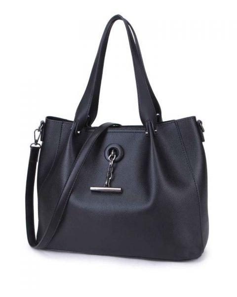 Bag in Bag Shopper Finsy zwart zwarte dames kunstleder tassen dames handtassen schoudertassen extra tas musthave fashion it bags kopen bestellen online side