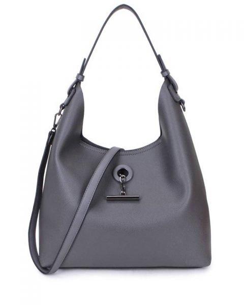 Bag in Bag Tas Finsy grijs grijze dames kunstleder tassen dames handtassen schoudertassen extra tas musthave fashion it bags kopen bestellen online